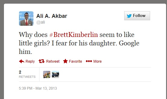 Ali Akbar goes after Brett Kimberlin's children..