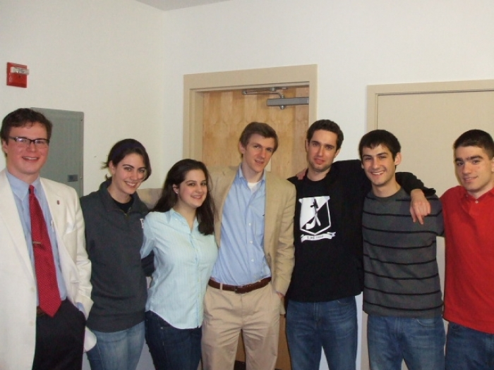 O'Keefe with members of the campus white supremacist group Youth for Western Civilization. Timothy Dionisopoulos stands to his immediate left