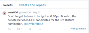 The @IowaGOP's last lonely tweet