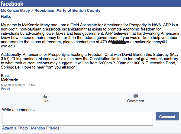 Image shows a recruiting message on Benton County Arkansas Republican Party website