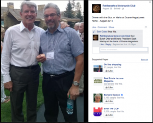 Gov. Butch Otter and Snake President Scott Maclay at the home of Duane Hagadone.