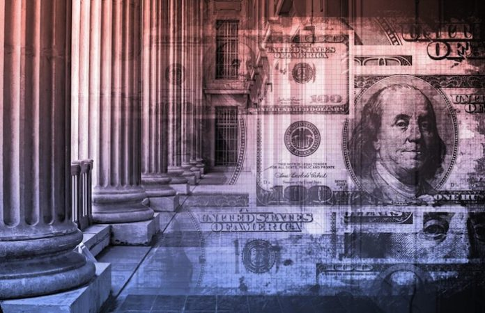 image of money on steps of courthouse