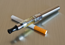 image of cigarette cross with e-cigarette