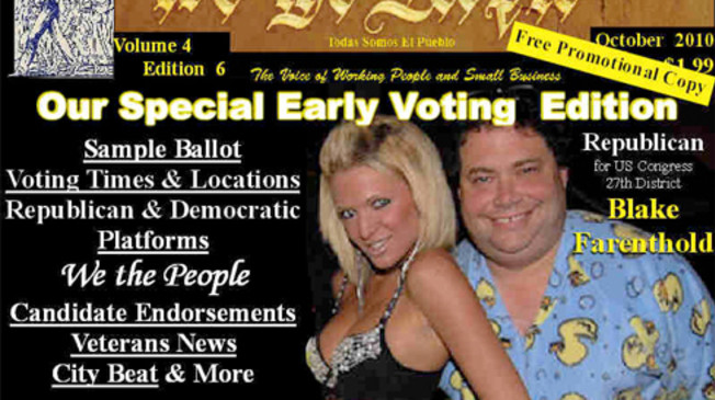 image of Farenthold on magazine cover with scantily clad woman