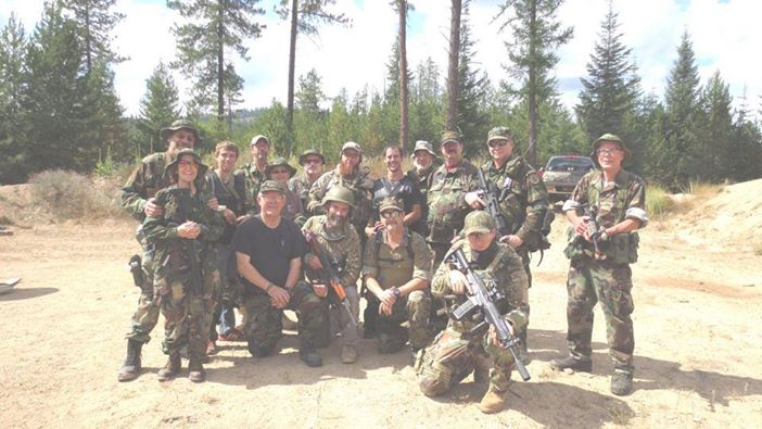 Stevens Co. Sheriff Canidate Ken Barker, second from the left front row, with members of the Rattlesnakes on a recent training mission.