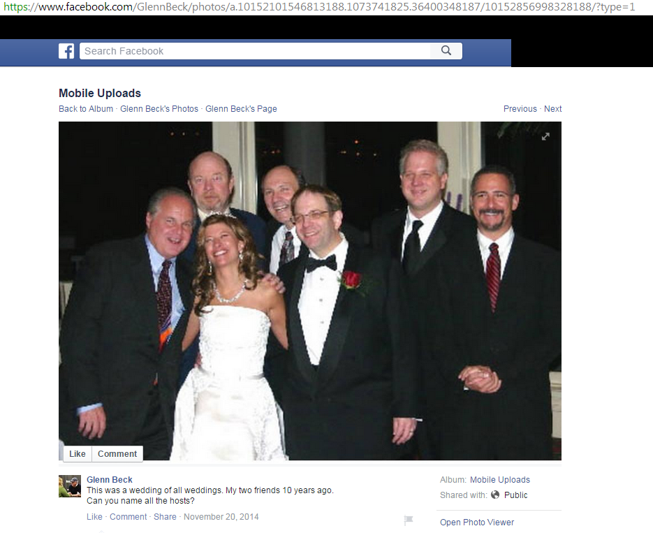 The photo Glicklich reported for DMCA at Daily Kos on Glenn Beck's Facebook page