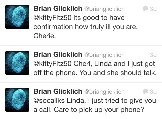Glicklich's tweets confirming that he called an activist at 2 AM