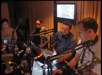 Frey, at far left, doing a podcast with Brett Kimberlin's business partner Brad Friedman, at right