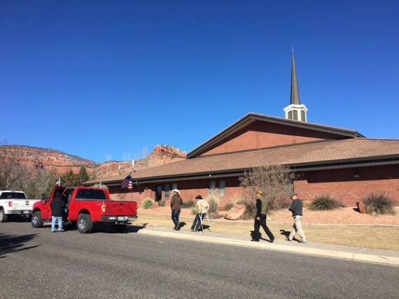 Mourners arrive for Finicum's funeral service