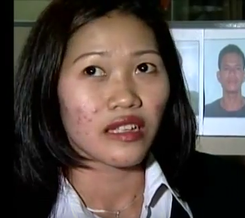 A woman described as Maria Fe Rosadeno appeared on Filipino TV after her escape.