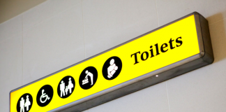 Bathroom sign at airport