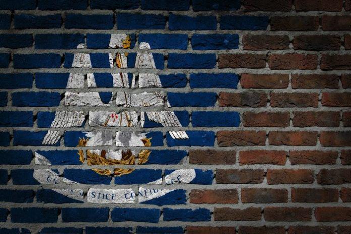 Louisiana state flag on brick wall
