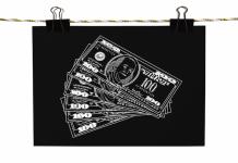 image of money on a blackboard