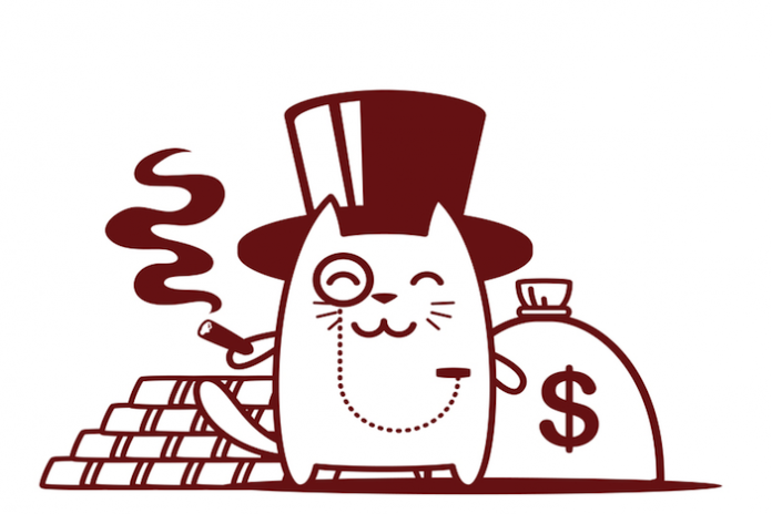 image of a cat banker with money bags and gold bars