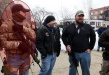 Johnathon Irish, (left) Chris Oliverio, and James Marron at Day of Resistance, [Image Credit: Concord Monitor]