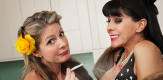 image of two 40-something women smoking pot