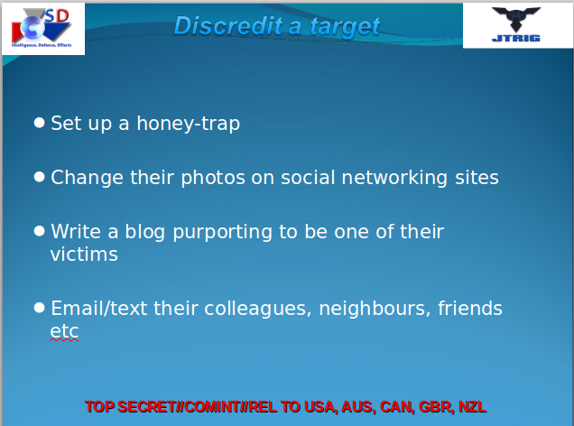 A GCHQ (British intelligence) PowerPoint slide on social media manipulation
